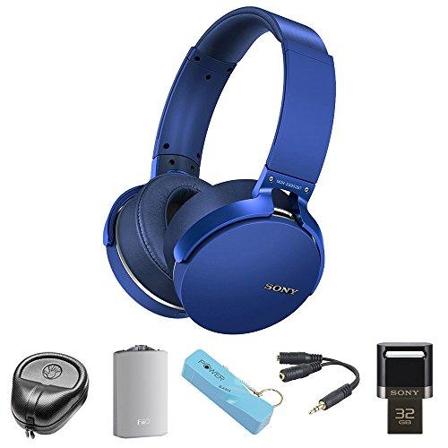 Sony XB950BT Extra Bass Bluetooth Headphones - Blue (MDRXB950BT/L)with HardBody Sized Headphone Case, A3 Port. Headphone Amplifier, 2600mAh Port. Keychain Power Bank, Splitter & 32GB Flash Drive