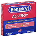 Benadryl Allergy, 25 mg, Ultratabs, 24 tablets