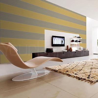 Metric' Stripe wallpaper in Mustard & Grey (Full Roll) by wallpaper heaven
