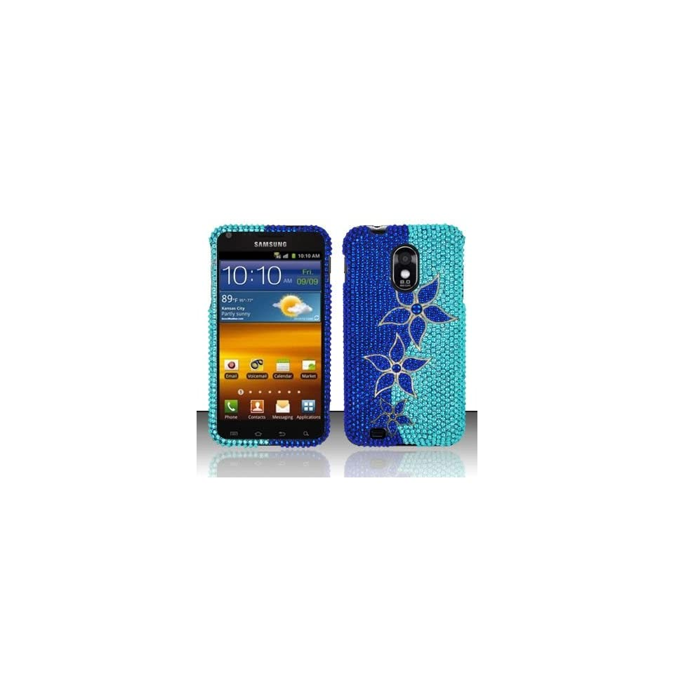 BLUE FLOWERS Hard Plastic Bling Rhinestone Case for Samsung Epic Touch 4G Galaxy S II D710 (Sprint) / Samsung Galaxy S II R760 (U.S. Cellular) [In Twisted Tech Retail Packaging]