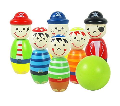 MasterPro Wooden Cartoon Figure Bowling Set
