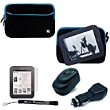 Black with Blue Trim Slim Protective Soft Neoprene Cover Carrying Case Sleeve with Extra Pocket // Fits Anywhere// Barnes & Noble NOOK Simple Touch eBook Reader BNRV300 (Nook 2nd Generation Release 2011 Model )+ a Black Home Usb Charger + a Black Car Usb Charger + a Anti-Glare Screen Protector + Includes 4-inch ebigvalue Determination Hand Strap Picture
