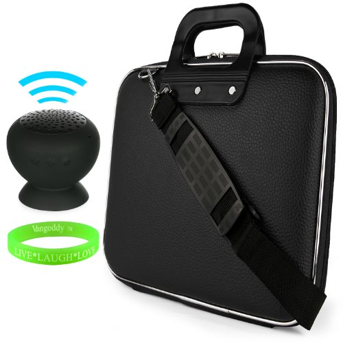 Cady Messenger Cube - Jet Black Ultra Durable Tactical Leather -Ette Bag Case Fits Lenovo Yoga 2 11' Inch Windows Laptop + Black Mini Suction Bluetooth Speaker With Microphone
