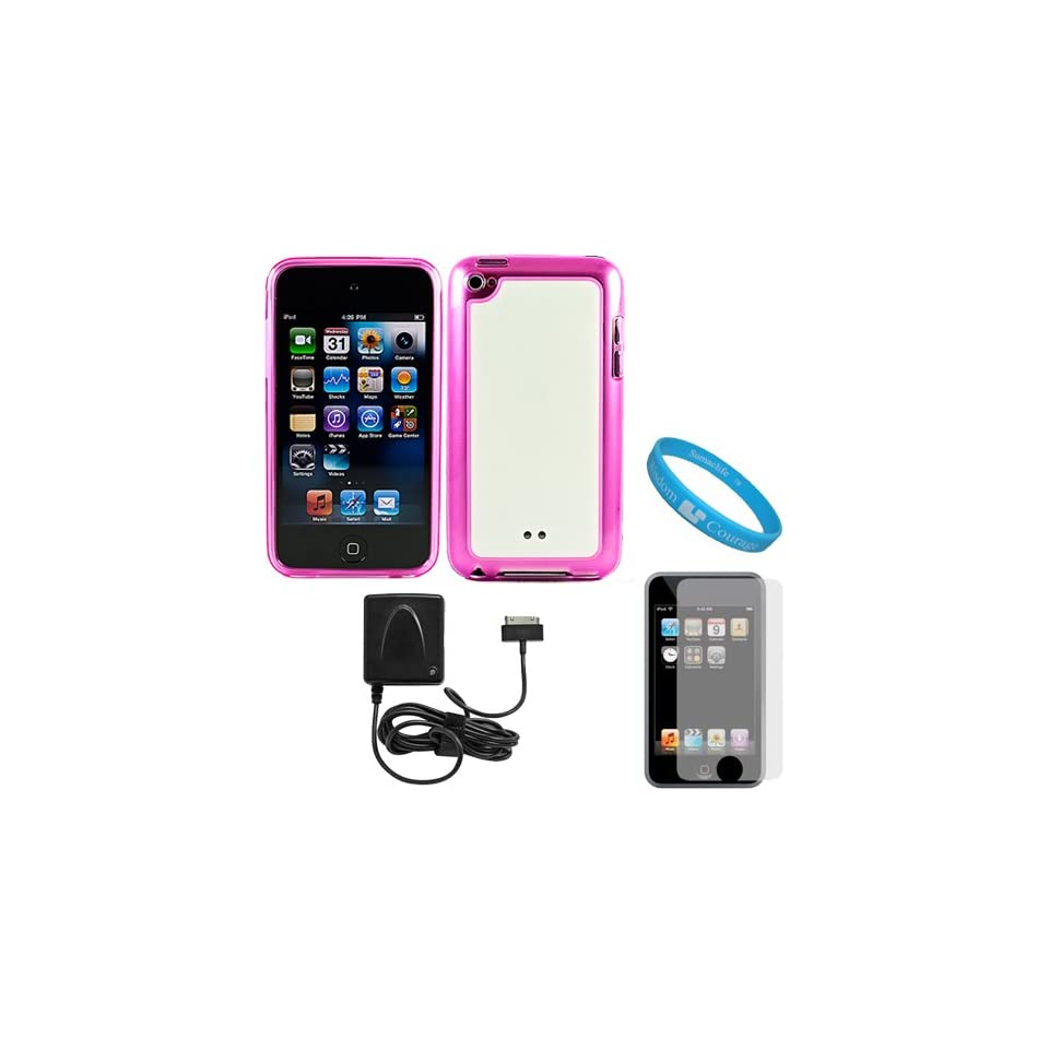 Pink with White Premium Rubberized Hard Crystal TPU Silicone Skin Cover Case for Apple iPod Touch 4th Generation (8GB, 16GB, 32GB, 64GB) + Clear Screen Protector for iPod Touch 4th Generation LCD Display Screen + Apple Licensed Cellet Home Charger With Fol