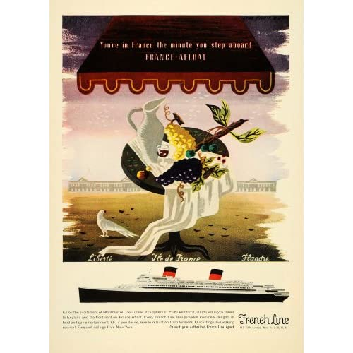 1954 Ad Travel French Line Cruise Ships Liberte Flandre   Original Print Ad