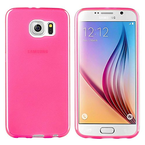 Theo&Cleo Galaxy S6 Case, [Anti-Shock Protection] Slim Thin Frost Clear Transparent Hot Pink Flexible Back TPU Soft Cover Case For Samsung Galaxy S6