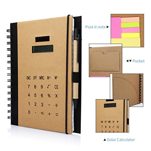 betterhill-multi-function-notebooks-solar-power-calculator-memo-notes-with-ballpoint-pen-conference-