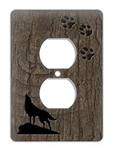rustic lodge decorative electrical outlet cover wolf with. Black Bedroom Furniture Sets. Home Design Ideas