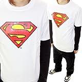 【緊急入荷】【トレンド】【アメコミ】メンズ・スーパーマン・SUPERMAN・プリント・半袖TシャツMサイズWHITE