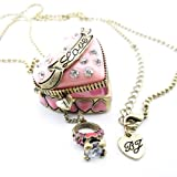 DaisyJewel Locket Necklace: Betsey Johnson Cake Heart Pave Crystal Encrusted Pink High Quality Pendant Locket with Magnetic Closure & Secret Sparkly Mini Diamond Ring - Accented by Gold Love Sashay on 30 to 33 in. Adjustable Ball Chain with Arrow and BJ Signature Heart Charm