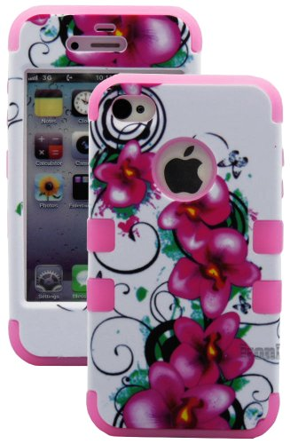 Mylife Bubblegum Pink - Tropical Flowers Series (3 Piece Protective) Hard And Soft Case For The Iphone 4/4S (4G) 4Th Generation Touch Phone (Fitted Front And Back Solid Cover Case + Internal Silicone Gel Rubberized Tough Armor Skin)