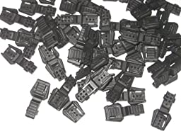 50 Zipper Pulls Black Plastic for Use with Paracord
