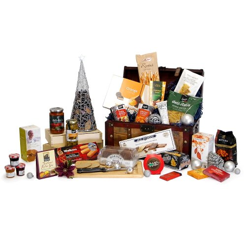 'Gourmet Delights' Luxury Vintage Chest Hamper with 25 Gourmet Food Items - Teachers, Retirement, Wedding Anniversary, Corporate, 18th 21st 30th 40th 50th 60th 70th 80th 90th Birthday Gifts Presents for Her Women Him Men Mum Dad Mother Father Nanna Grandm