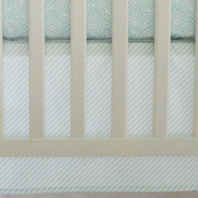 Oliver B Crib Skirt - Sea Green Stripes