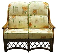 Replacement Cane SOFA CUSHIONS ONLY Conservatory Furniture Wicker Rattan by Gilda® - Stunning Fabric Choice Cotton & Chenille with Piped Edges (Poppy Natural with Sage Piping) by Gilda Ltd
