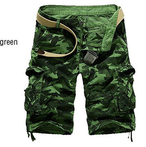 GG Perdere multi-tasca camouflage cinque tempo libero pantaloncini. uomini tooling pantaloncini , green , 30