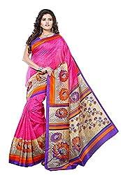 Bansy Fashion Pink Coloured Art Silk Printed Saree/Sari