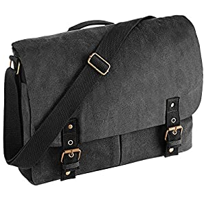 Quadra Vintage Canvas Satchel Messenger Vintage Black ONE