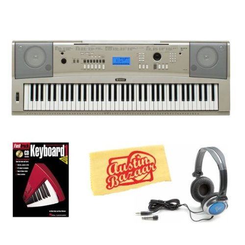 Yamaha Ypg-235 76-Key Portable Grand Keyboard Bundle With Headphones, Instructional Book, And Polishing Cloth