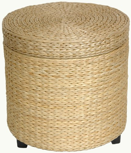 """Best Deal Price Bargain Design End Table - 17"""" Woven Water Hyacinth Rattan Style Round Lidded Foot Stool Basket - Natural"""