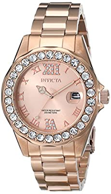 "Invicta Women's 15253SYB ""Pro Diver"" Rose Gold-Tone Stainless Steel Watch with Link Bracelet"