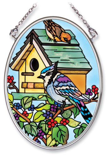 Amia Hand Painted Glass Suncatcher with Songbird and Birdhouse Design, 3-1/4-Inch by 4-1/4-Inch Oval