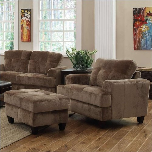 Coaster Hurley Tufted Chair and Ottoman Set in Mocha Velvet