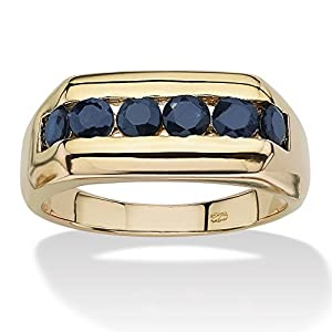 1.74 TCW Men's Channel-Set Dark Blue Genuine Sapphire 18k Yellow Gold over Sterling Silver Ring - T