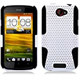 Eagle Cell PHHTCONESNTBKWH Progressive Hybrid Protective Gummy TPU Mesh Defense Case for HTC One S, Retail Packaging, Black/White