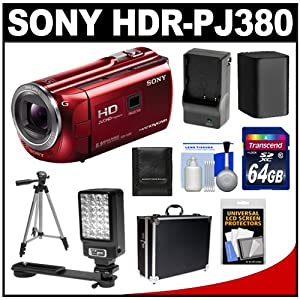 Sony Handycam HDR-PJ380 16GB 1080p HD Video Camera Camcorder with Projector (Red) with 64GB Card + Battery & Charger + Hard Case + LED Video Light + Tripod + Accessory Kit