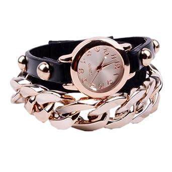 FINEJO Women Punk Gold Plated Multicolor Wristwatch Black [Apparel]