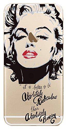 JAMMYLIZARD   Cover custodia in Silicone Trasparente con Sketch per iPhone 6 e 6s, MARYLIN MONROE