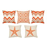 Khrysanthemum Oxford Cotton Mix Pattern Star And Wave Cushion Cover (Set Of 5) - 16 X 16 Inches, Multi