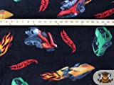 Fleece Printed MISC *HOT WHEELS DARK* Fabric By the Yard