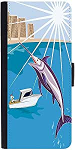 Snoogg Blue Marlin Fish Jumping Retro Graphic Snap On Hard Back Leather + Pc ...