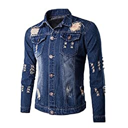 Tops,BeautyVan Men Fitted Long Sleeve Jean Denim Coat Hole Shirt Blouse Classic Tops (L2, Blue)