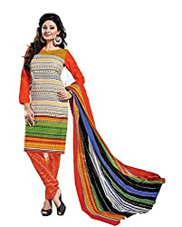 Balaji Womens Cotton Unstitched Dress Material(5122+Orange+Free Size)