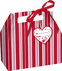 Creative Converting Striped Cookie Boxes with Handles, Pink and Red, 4 Per Package