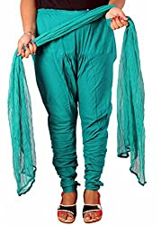 Tinnu G Women's Cotton Churidar and Dupatta Set (TGDP1305_Green_Free Size)