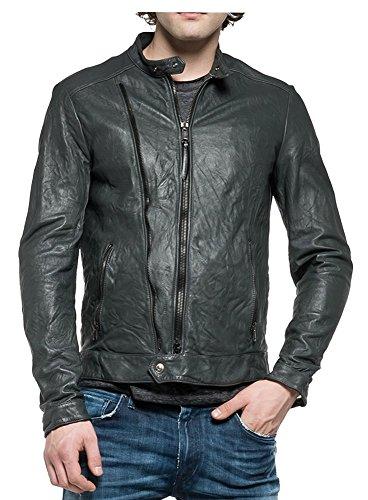 REPLAY Biker Style Zip Detail Pockets Leather Jacket Dark Grey M