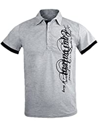 Imported Mens Fashion Lapel Letters Printing Short Sleeves Polo Golf T Shirt Gray M