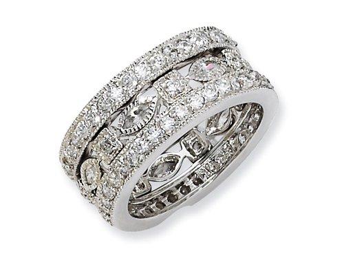 Cheryl M(tm) Sterling Silver CZ Eternity Three Ring Set Size 6