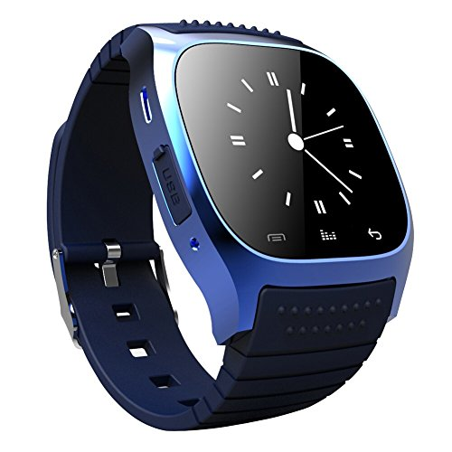 Soyan® New M26 Bluetooth Smart Wrist Watch Phone Suitable for Android Phones(Full functions),For Iphone(Partial functions) (Blue)