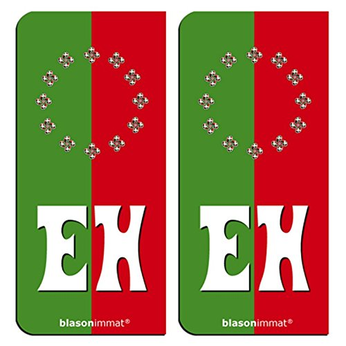 2-Stickers-plaque-dimmatriculation-auto-EH-Pays-Basque-Collector-Identifiant-Europen
