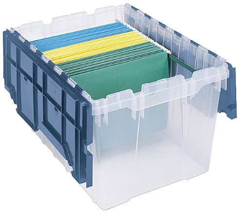 Akro-Mils 66486 FILEB 12-Gallon Plastic Storage Hanging File Box with Attached Lid, 21-1/2-Inch by 15-Inch by 12-1/2-Inch, Semi-Clear