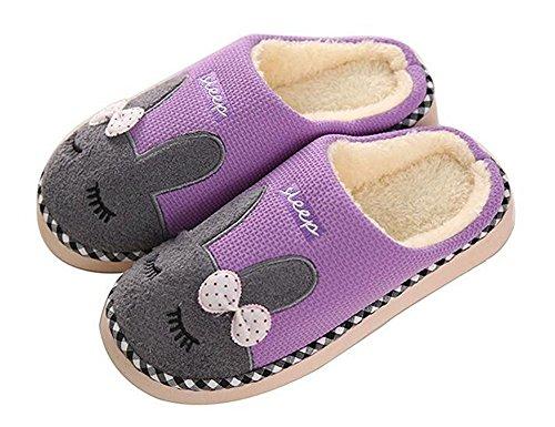 Minetom Coppia Pantofole Inverno Autunno Morbido Pantofole Coniglio Cartoon Scarpe Slippers per Donne Uomini Viola EU 38