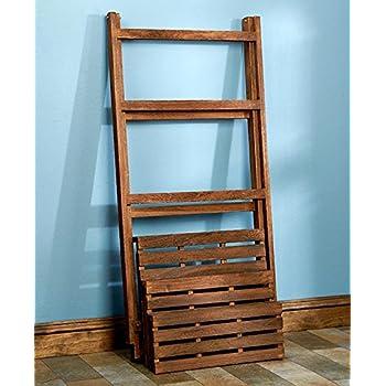 Wood Shelf Display Shabby Chic Cottage Ladder Shelving Unit (walnut)