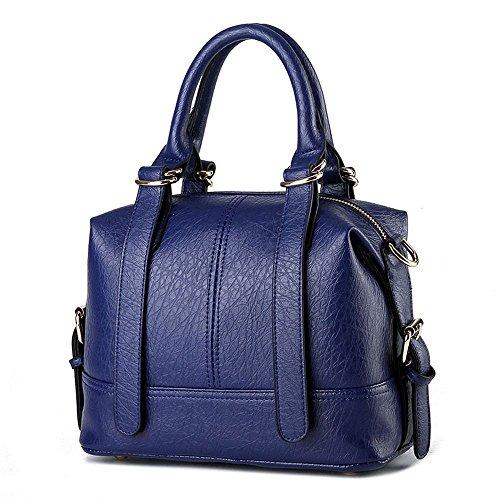 Ryse Womens Fashionable Classic Simple Exquisite Handbag Shoulder Bag(Navy)