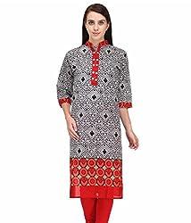 BPT Stylish Printed Red & Black Cotton Women's Kurti ( Size L / 40