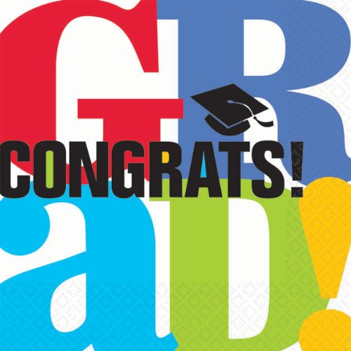 Bravo Grad Beverage Napkins (36 per package) Graduation Party Supplies - 1